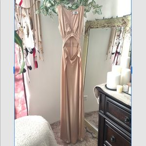 INDIE XO NUDE PLUNGE CUT OUT DOUBLE  SLIT DRESS S